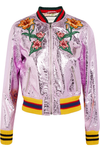 gucci female 124136 gucci appliqued metallic texturedleather bomber jacket lilac