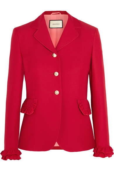 gucci female 250960 gucci ruffled wool and silkblend jacket red