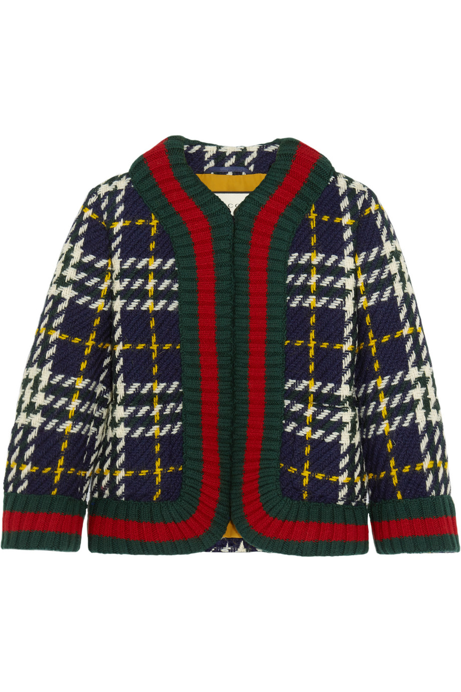 Gucci Cropped Plaid Wool Jacket, Emerald, Women's, Size: 34