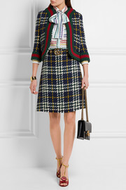 Cropped plaid wool jacket