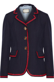 Velvet-trimmed polka-dot cotton and wool-blend blazer
