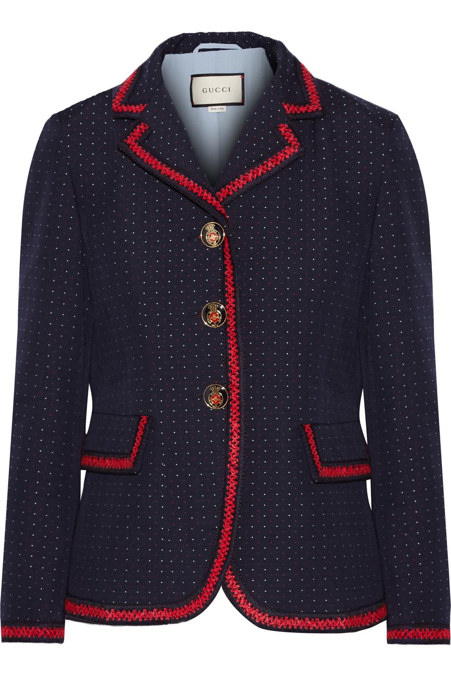 Gucci Velvet-Trimmed Polka-Dot Cotton and Wool-Blend Blazer, Size: 36