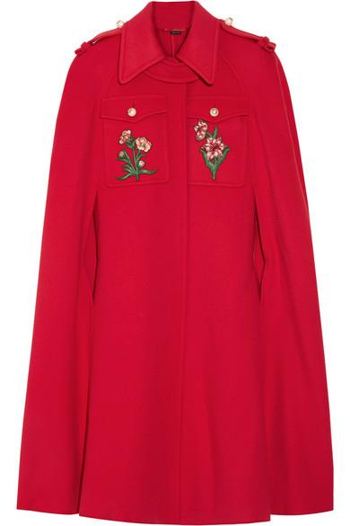 Gucci - Appliquéd Wool Cape - Claret