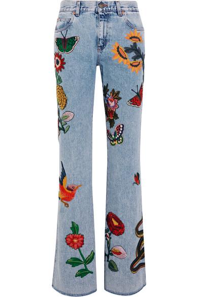 Gucci - Appliquéd Mid-rise Flared Jeans - Light denim
