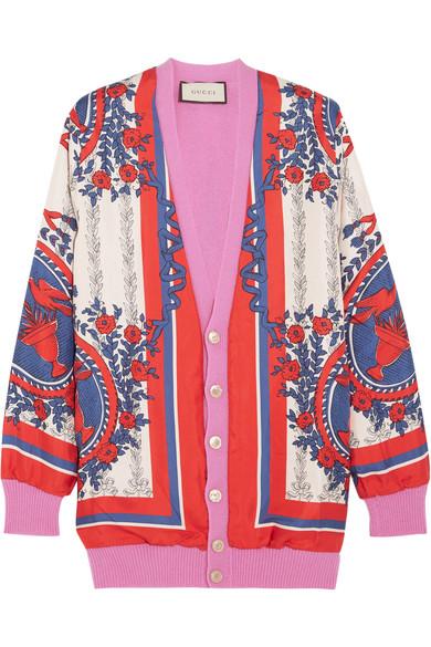 Gucci - Wool-blend Trimmed Printed Silk Cardigan - Pink