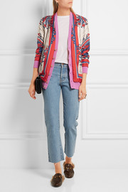 Gucci Wool-blend trimmed printed silk cardigan