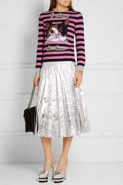 Gucci Embroidered striped wool and cashmere-blend sweater