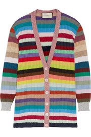 Metallic-trimmed striped cashmere and wool-blend cardigan