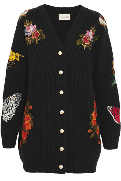 Gucci - Oversized Embroidered Merino Wool Cardigan - Black