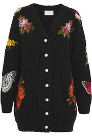 Oversized embroidered merino wool cardigan