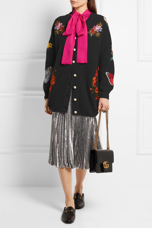 Gucci Oversized embroidered merino wool cardigan