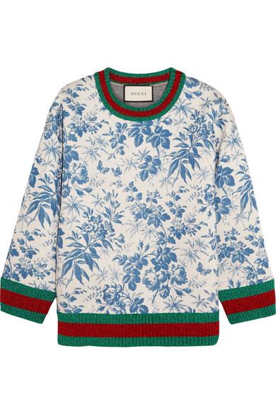 Gucci - Printed Bonded Cotton-jersey Sweatshirt - Blue