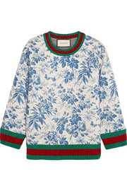 Printed bonded cotton-jersey sweatshirt