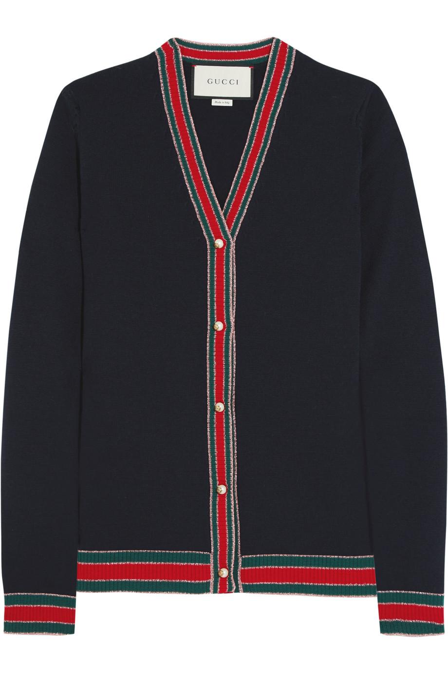 Gucci Striped Wool Cardigan, Navy, Women's, Size: L