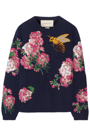 Embroidered intarsia wool sweater