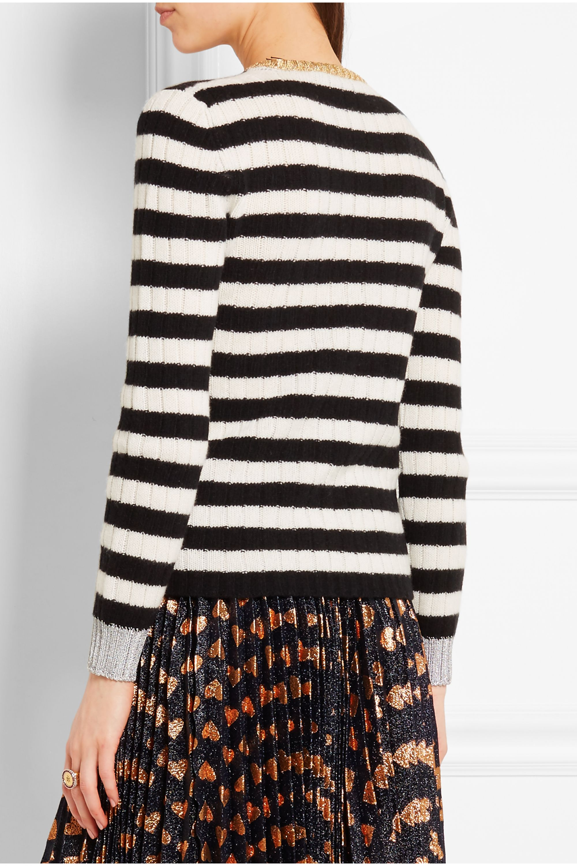 Gucci Metallic-trimmed striped cashmere and wool-blend sweater