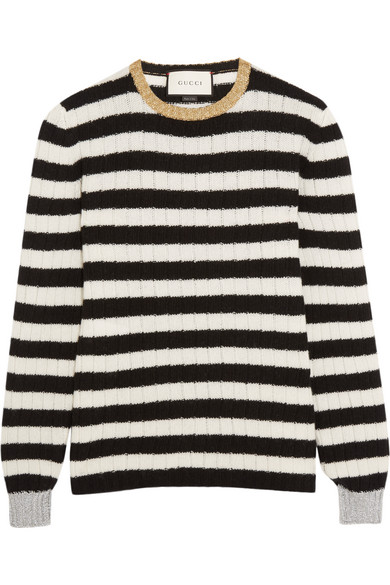Gucci - Metallic-trimmed Striped Cashmere And Wool-blend Sweater - White