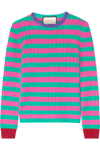 Gucci - Metallic-trimmed Striped Cashmere And Wool-blend Sweater - Pink