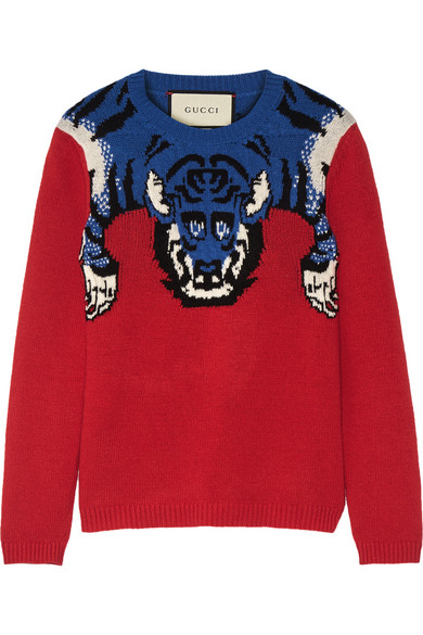 Gucci - Embellished Intarsia Wool Sweater - Red