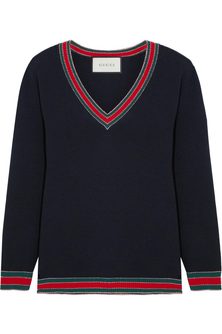 Gucci Stripe-Trimmed Wool Sweater, Midnight Blue, Women's, Size: XL