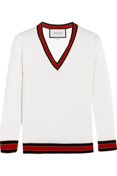Gucci - Stripe-trimmed Wool Sweater - Ivory