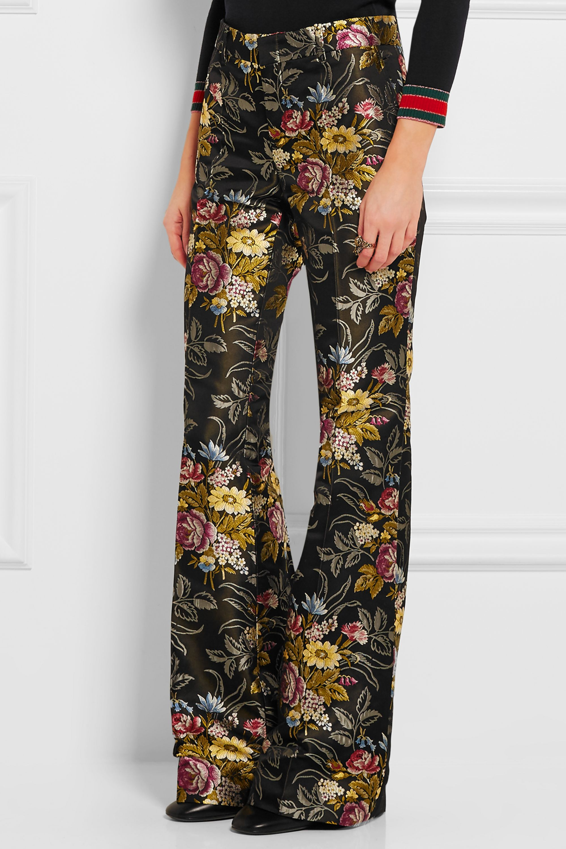 Gucci Silk-jacquard flared pants