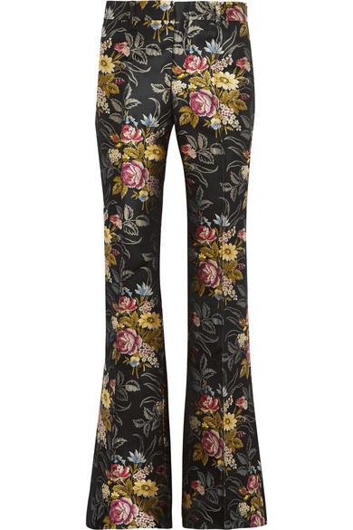 Gucci - Silk-jacquard Flared Pants - Black