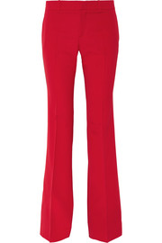 Stretch wool and silk-blend flared pants