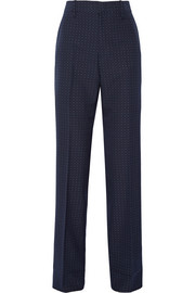Polka-dot cotton and wool-blend straight-leg pants