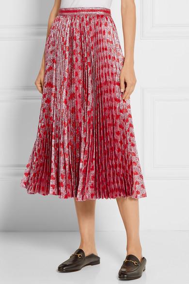 bdf570f56ffa Gucci. Pleated printed lamé skirt