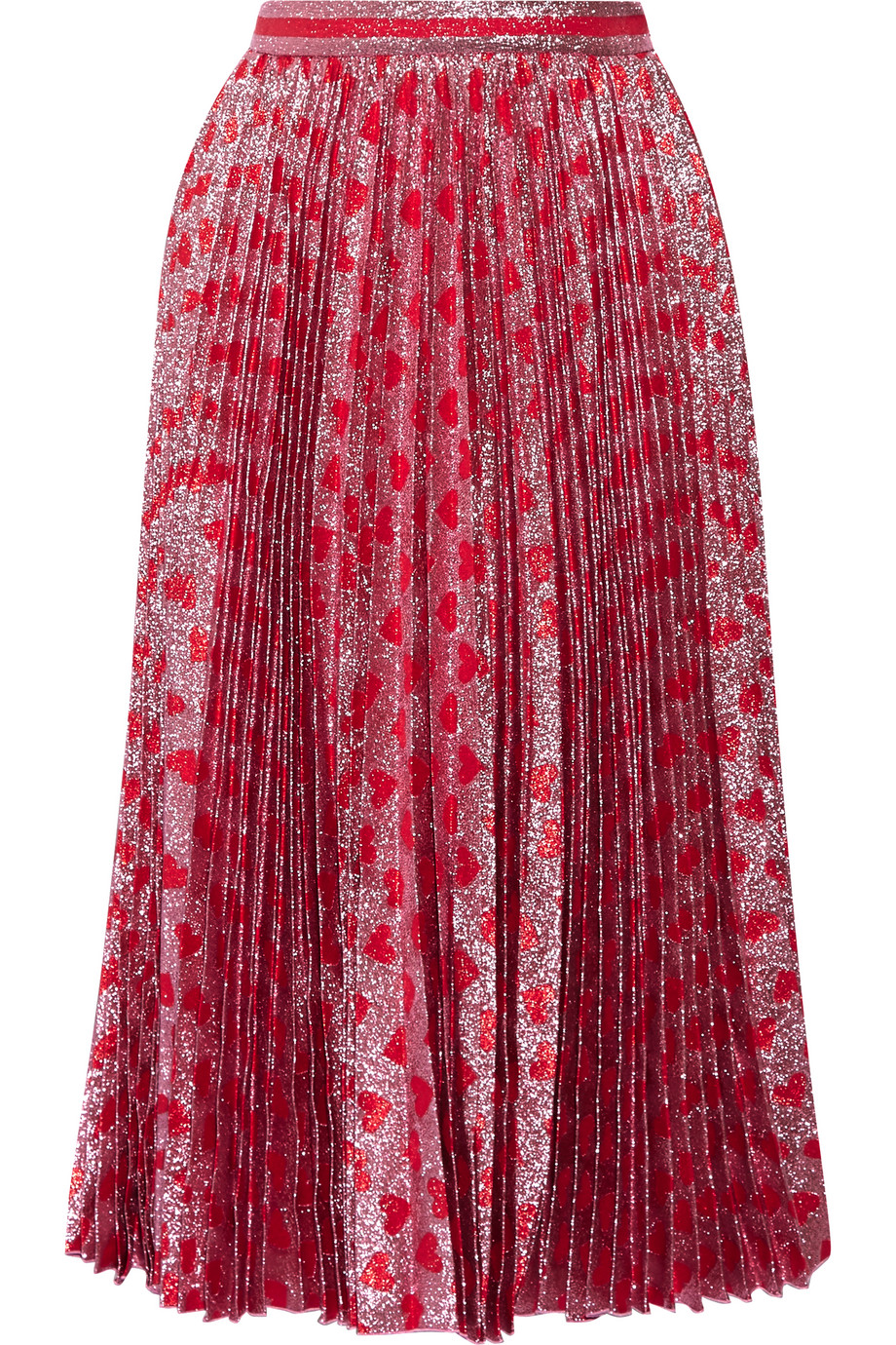 Gucci Pleated Printed Lamé Skirt, Red/Pink, Women's, Size: 44