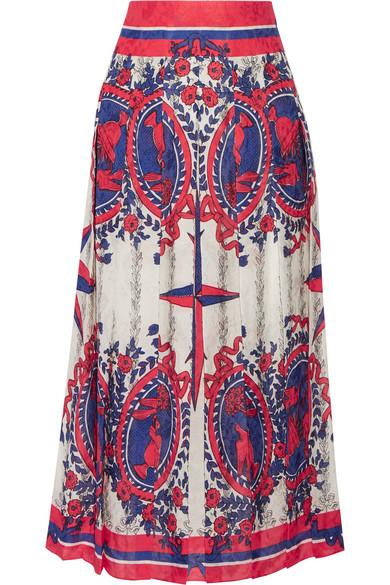Gucci - Pleated Printed Jacquard Midi Skirt - Ivory