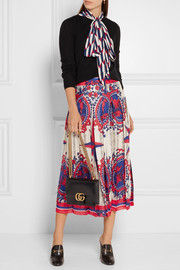 Pleated printed jacquard midi skirt