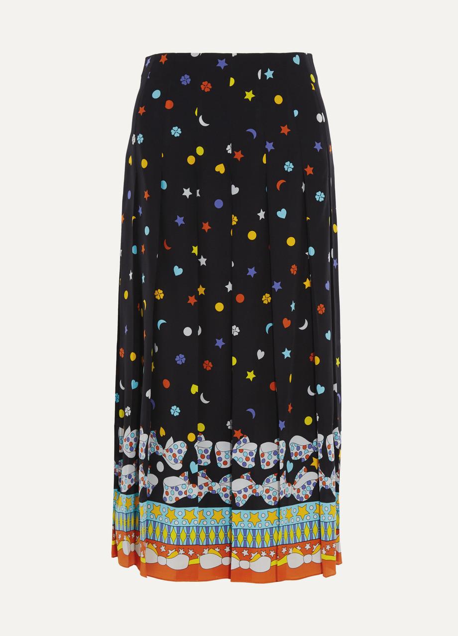 Gucci Pleated Printed Silk Crepe De Chine Midi Skirt, Black, Women's, Size: 46