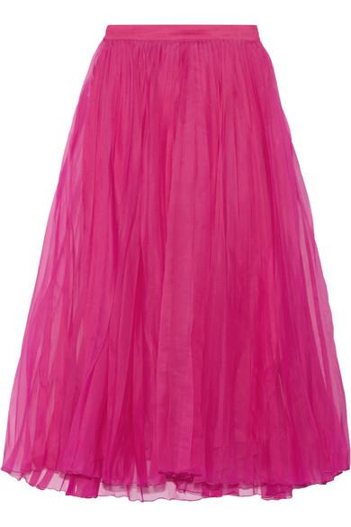 Gucci - Pleated Silk-blend Organza Midi Skirt - Fuchsia