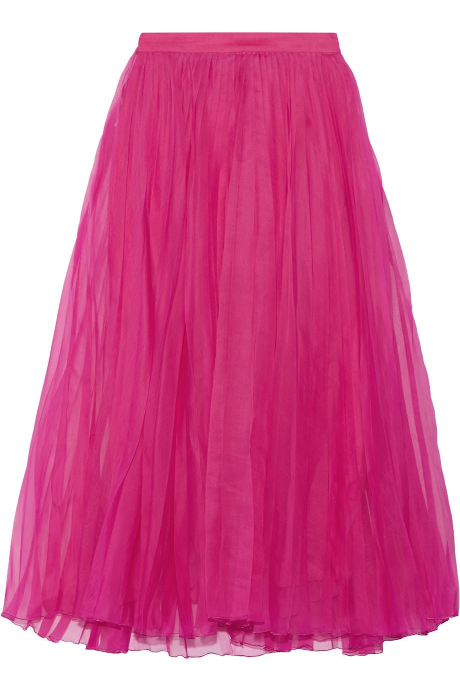 Gucci Pleated Silk-Blend Organza Midi Skirt, Fuchsia, Women's, Size: 38