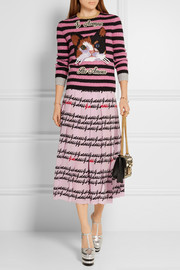 Gucci Pleated printed silk midi skirt