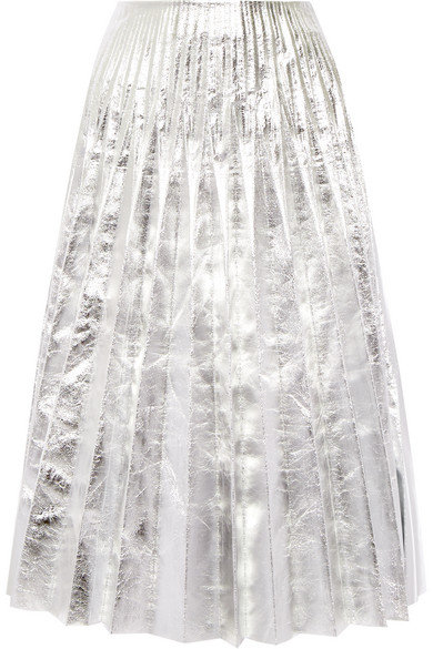 Gucci - Pleated Metallic Leather Midi Skirt - Silver