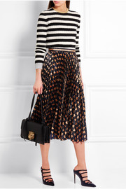 Pleated printed lamé skirt