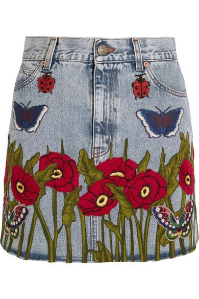 Gucci - Appliquéd Denim Mini Skirt - Light denim