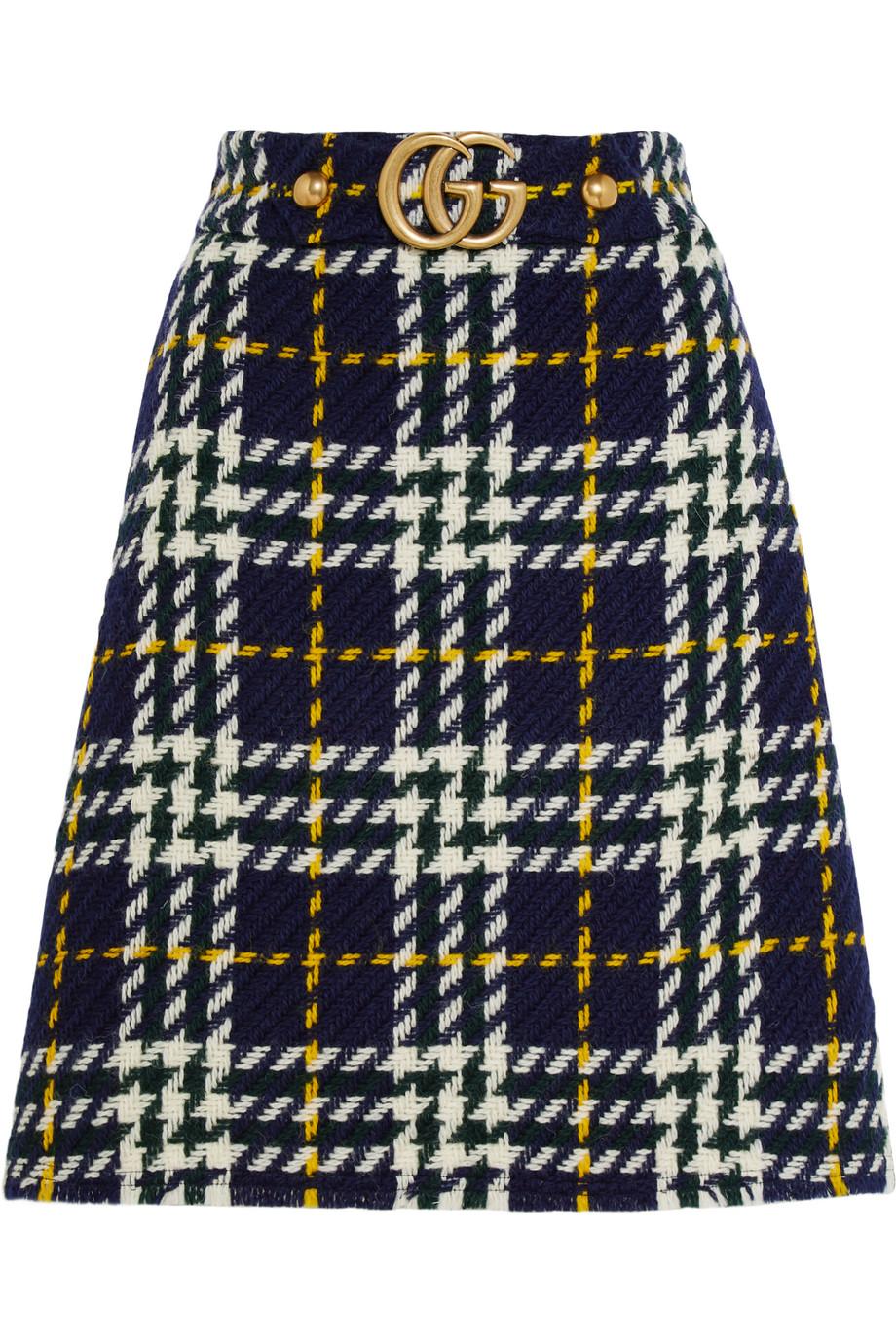 Gucci Plaid Wool Skirt, Emerald/Blue, Women's, Size: 38