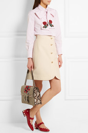 Gucci Embellished silk and cotton-blend mini skirt