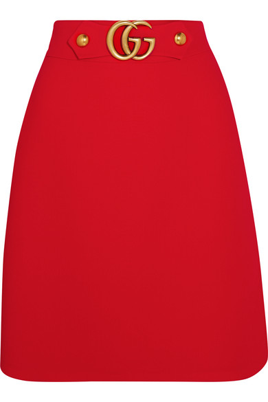 Gucci - Embellished Wool And Silk-blend Twill Skirt - Red