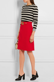 Gucci Embellished wool and silk-blend twill skirt