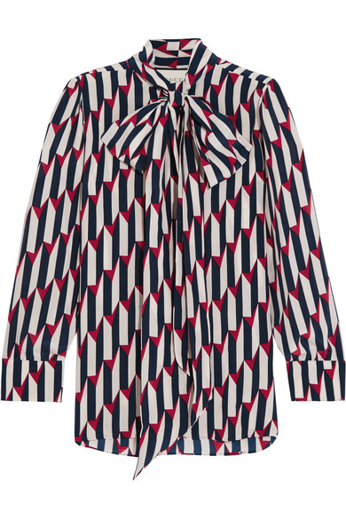 Gucci - Pussy-bow Printed Silk Crepe De Chine Shirt - Navy