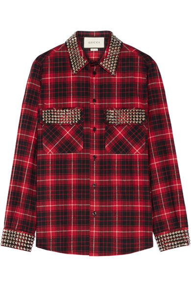 gucci female 250960 gucci embellished plaid cottonflannel shirt red