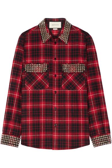 7b4080fde1 Gucci. Embellished plaid cotton-flannel shirt