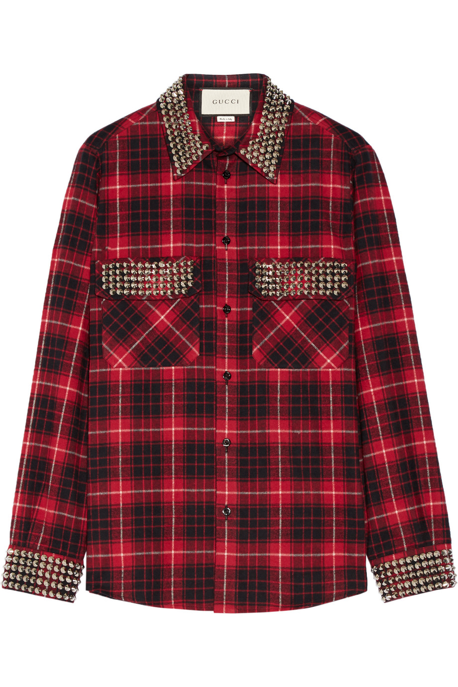 Gucci Embellished Plaid Cotton-Flannel Shirt, Red, Women's, Size: 46