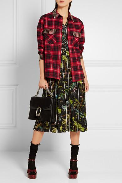 5520f67d9d Embellished plaid cotton-flannel shirt