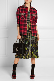 Embellished plaid cotton-flannel shirt